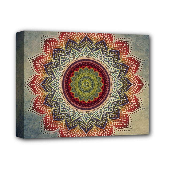 Folk Art Lotus Mandala Dirty Blue Red Deluxe Canvas 14  x 11
