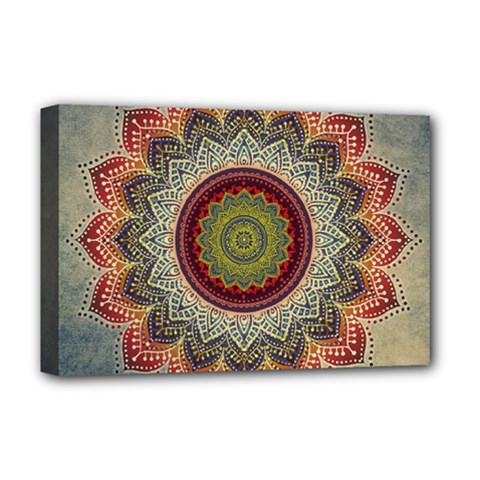 Folk Art Lotus Mandala Dirty Blue Red Deluxe Canvas 18  X 12