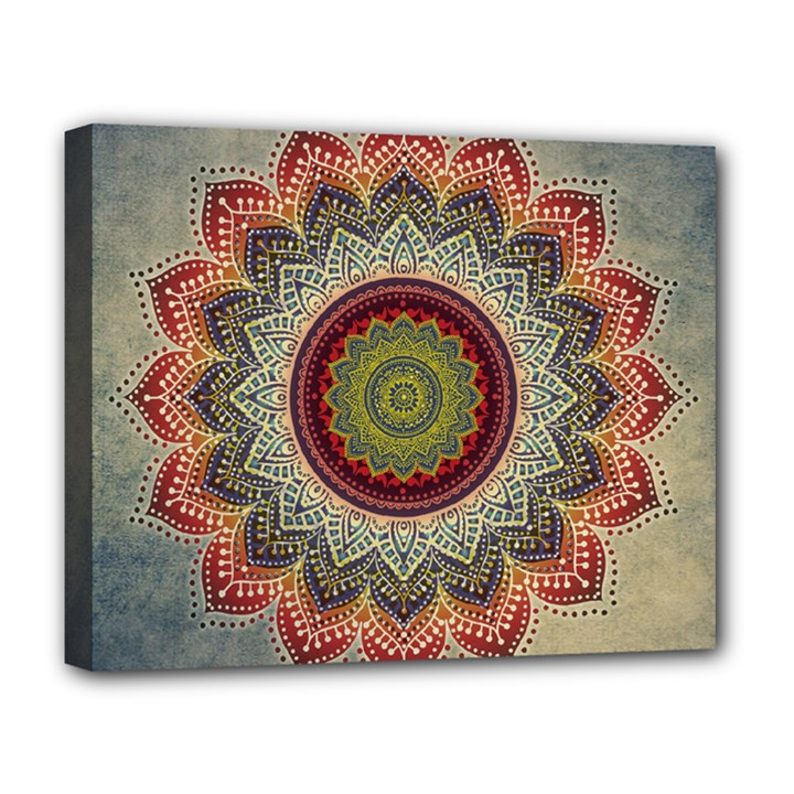 Folk Art Lotus Mandala Dirty Blue Red Deluxe Canvas 20  x 16
