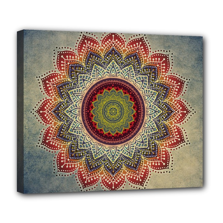 Folk Art Lotus Mandala Dirty Blue Red Deluxe Canvas 24  x 20