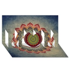 Folk Art Lotus Mandala Dirty Blue Red MOM 3D Greeting Card (8x4)