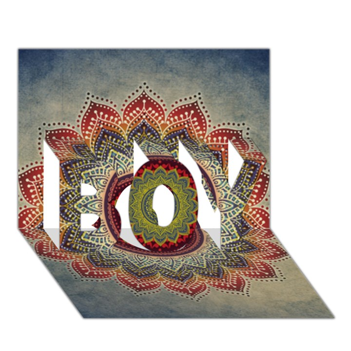 Folk Art Lotus Mandala Dirty Blue Red BOY 3D Greeting Card (7x5)