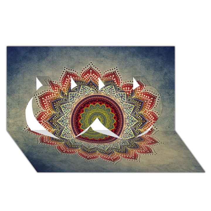 Folk Art Lotus Mandala Dirty Blue Red Twin Hearts 3D Greeting Card (8x4)