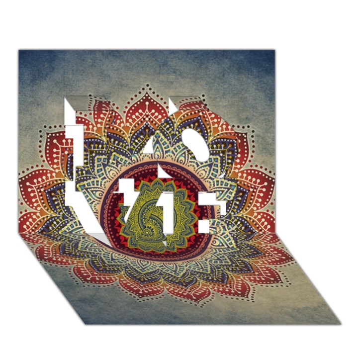 Folk Art Lotus Mandala Dirty Blue Red LOVE 3D Greeting Card (7x5)