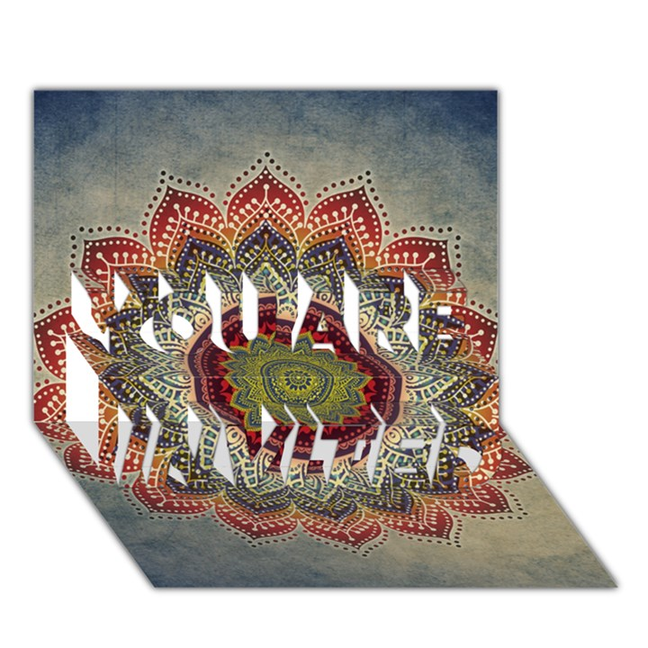Folk Art Lotus Mandala Dirty Blue Red YOU ARE INVITED 3D Greeting Card (7x5)