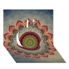 Folk Art Lotus Mandala Dirty Blue Red Apple 3d Greeting Card (7x5)