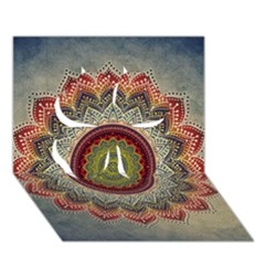 Folk Art Lotus Mandala Dirty Blue Red Clover 3d Greeting Card (7x5)