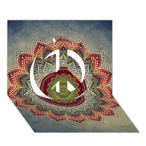 Folk Art Lotus Mandala Dirty Blue Red Peace Sign 3D Greeting Card (7x5)