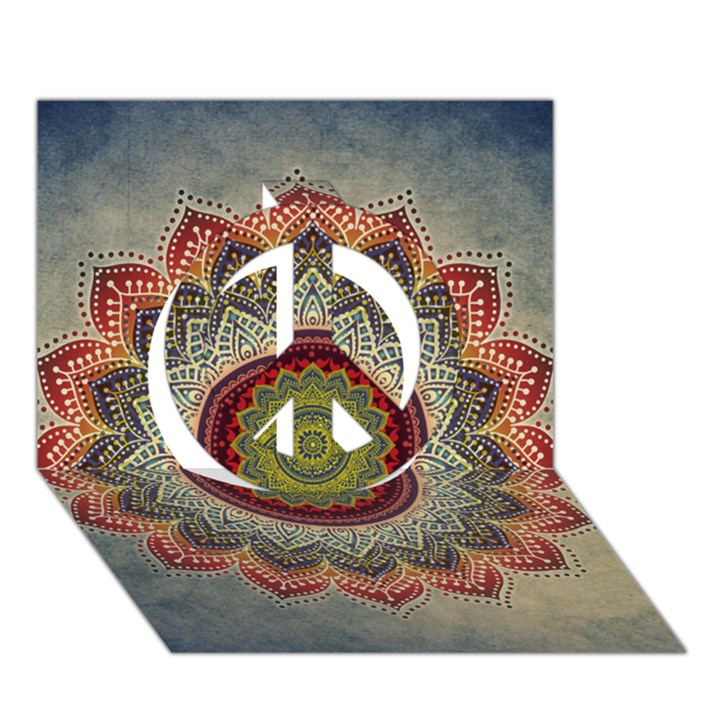 Folk Art Lotus Mandala Dirty Blue Red Peace Sign 3D Greeting Card (7x5)
