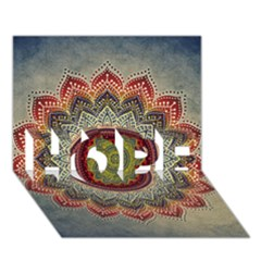Folk Art Lotus Mandala Dirty Blue Red Hope 3d Greeting Card (7x5)