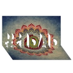 Folk Art Lotus Mandala Dirty Blue Red #1 DAD 3D Greeting Card (8x4)