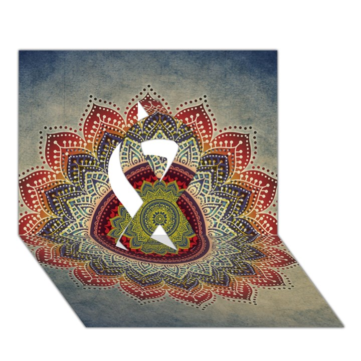 Folk Art Lotus Mandala Dirty Blue Red Ribbon 3D Greeting Card (7x5)