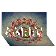 Folk Art Lotus Mandala Dirty Blue Red SORRY 3D Greeting Card (8x4)