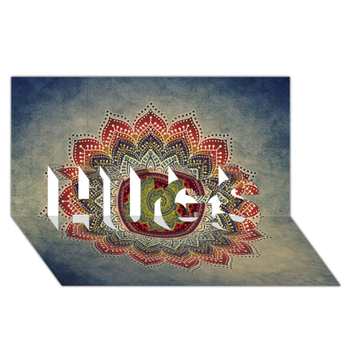 Folk Art Lotus Mandala Dirty Blue Red HUGS 3D Greeting Card (8x4)