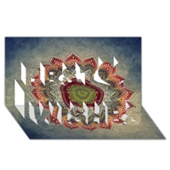 Folk Art Lotus Mandala Dirty Blue Red Best Wish 3D Greeting Card (8x4)
