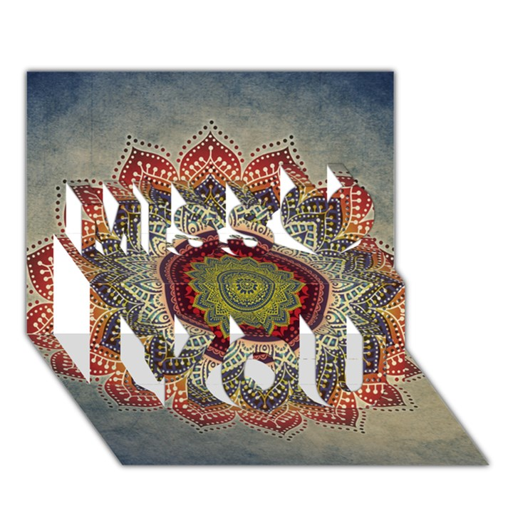 Folk Art Lotus Mandala Dirty Blue Red Miss You 3D Greeting Card (7x5)