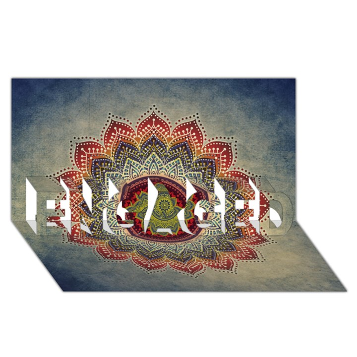 Folk Art Lotus Mandala Dirty Blue Red ENGAGED 3D Greeting Card (8x4)