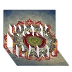 Folk Art Lotus Mandala Dirty Blue Red WORK HARD 3D Greeting Card (7x5)