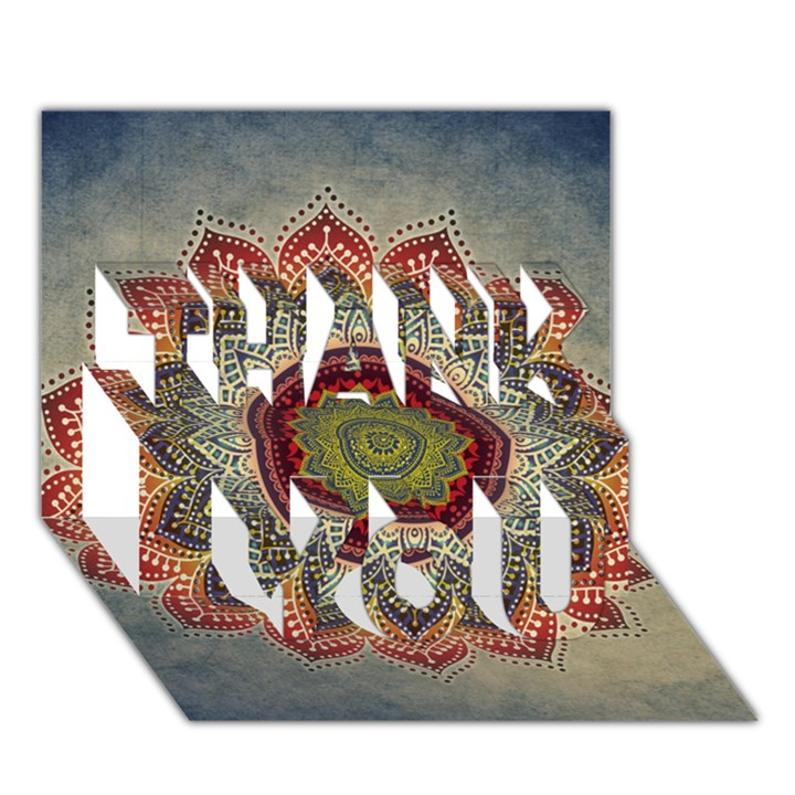 Folk Art Lotus Mandala Dirty Blue Red THANK YOU 3D Greeting Card (7x5)