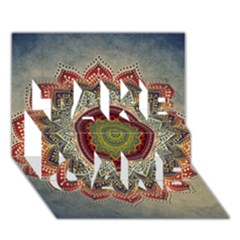 Folk Art Lotus Mandala Dirty Blue Red TAKE CARE 3D Greeting Card (7x5)