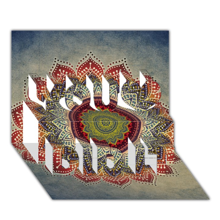 Folk Art Lotus Mandala Dirty Blue Red You Did It 3D Greeting Card (7x5)