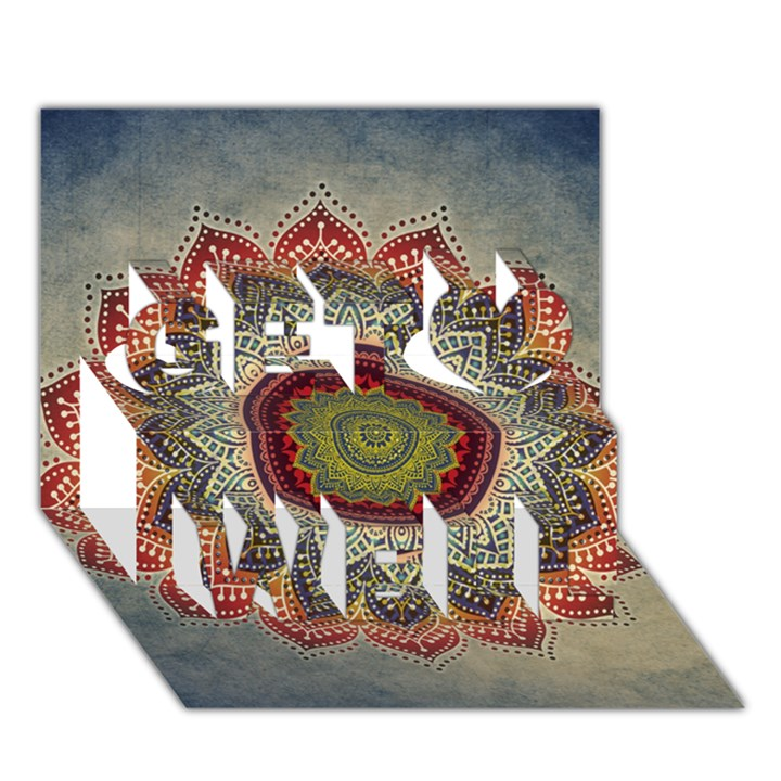 Folk Art Lotus Mandala Dirty Blue Red Get Well 3D Greeting Card (7x5)