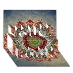 Folk Art Lotus Mandala Dirty Blue Red You Rock 3D Greeting Card (7x5)