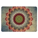 Folk Art Lotus Mandala Dirty Blue Red Samsung Galaxy Tab 10.1  P7500 Flip Case View1