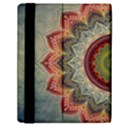 Folk Art Lotus Mandala Dirty Blue Red Samsung Galaxy Tab 10.1  P7500 Flip Case View2