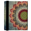 Folk Art Lotus Mandala Dirty Blue Red Samsung Galaxy Tab 8.9  P7300 Flip Case View3