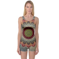 Folk Art Lotus Mandala Dirty Blue Red One Piece Boyleg Swimsuit