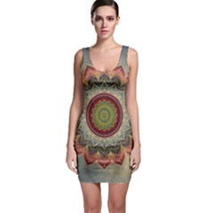 Folk Art Lotus Mandala Dirty Blue Red Sleeveless Bodycon Dress