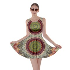Folk Art Lotus Mandala Dirty Blue Red Skater Dress