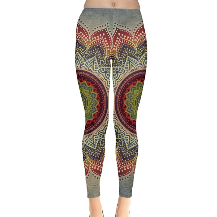 Folk Art Lotus Mandala Dirty Blue Red Leggings
