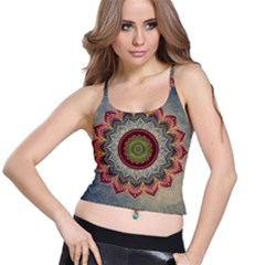 Folk Art Lotus Mandala Dirty Blue Red Spaghetti Strap Bra Top