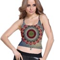 Folk Art Lotus Mandala Dirty Blue Red Spaghetti Strap Bra Top View1