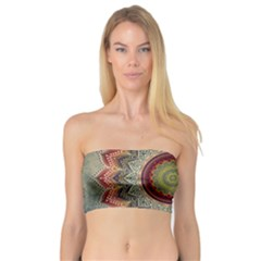 Folk Art Lotus Mandala Dirty Blue Red Bandeau Top