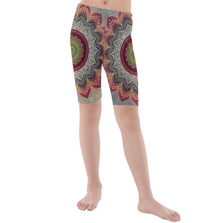 Folk Art Lotus Mandala Dirty Blue Red Kids  Mid Length Swim Shorts