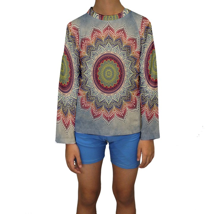 Folk Art Lotus Mandala Dirty Blue Red Kids  Long Sleeve Swimwear