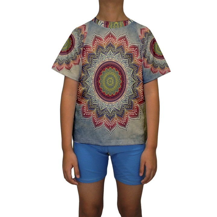 Folk Art Lotus Mandala Dirty Blue Red Kids  Short Sleeve Swimwear