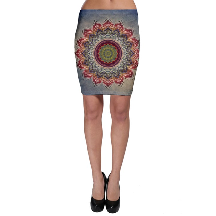 Folk Art Lotus Mandala Dirty Blue Red Bodycon Skirt