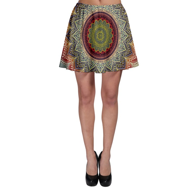 Folk Art Lotus Mandala Dirty Blue Red Skater Skirt