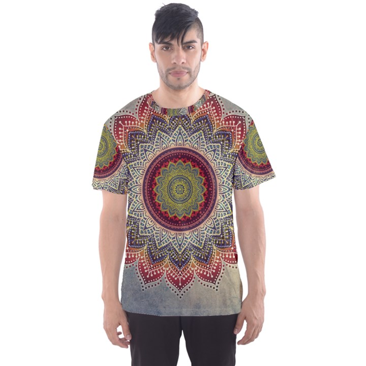 Folk Art Lotus Mandala Dirty Blue Red Men s Sport Mesh Tee