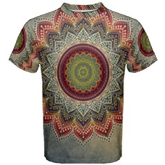 Folk Art Lotus Mandala Dirty Blue Red Men s Cotton Tee