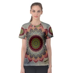 Folk Art Lotus Mandala Dirty Blue Red Women s Sport Mesh Tee
