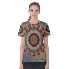 Folk Art Lotus Mandala Dirty Blue Red Women s Cotton Tee