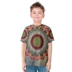 Folk Art Lotus Mandala Dirty Blue Red Kids  Cotton Tee