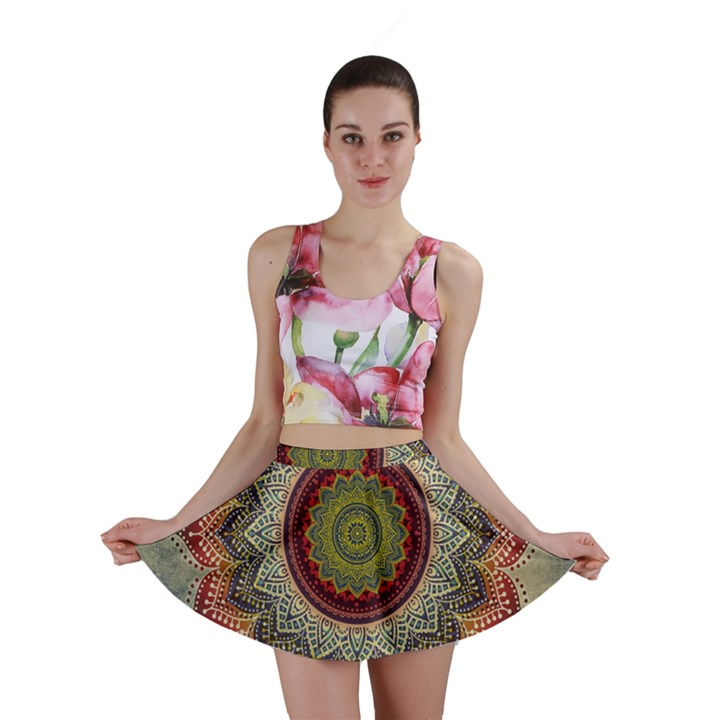 Folk Art Lotus Mandala Dirty Blue Red Mini Skirt