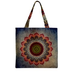 Folk Art Lotus Mandala Dirty Blue Red Grocery Tote Bag