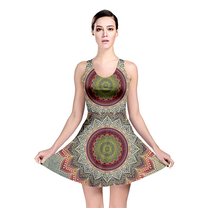 Folk Art Lotus Mandala Dirty Blue Red Reversible Skater Dress